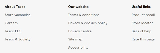 Tesco website footer with links