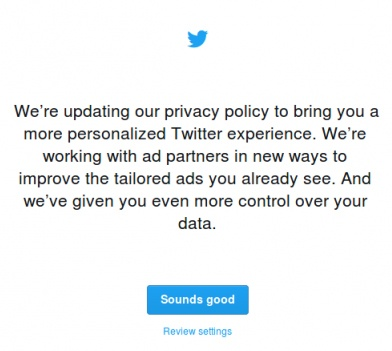Twitter updated Privacy Policy pop-up notice
