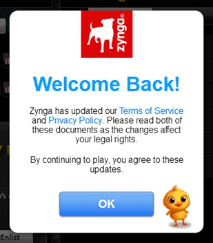 Zynga updated Terms of Service and Privacy Policy pop-up notice