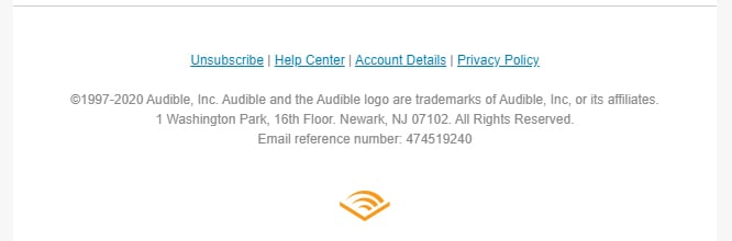 Screenshot of Amazon Audible email footer