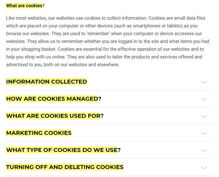 Gymshark Cookie Policy: Intro and table of contents