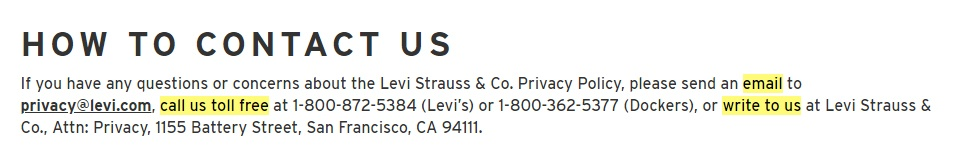 Levis Privacy Policy: How to Contact Us clause