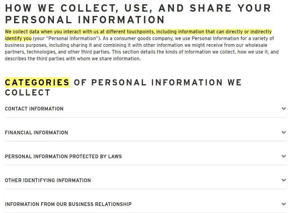 Levis Privacy Policy: How we collect, use and share your personal information and Categories of personal information collected clauses
