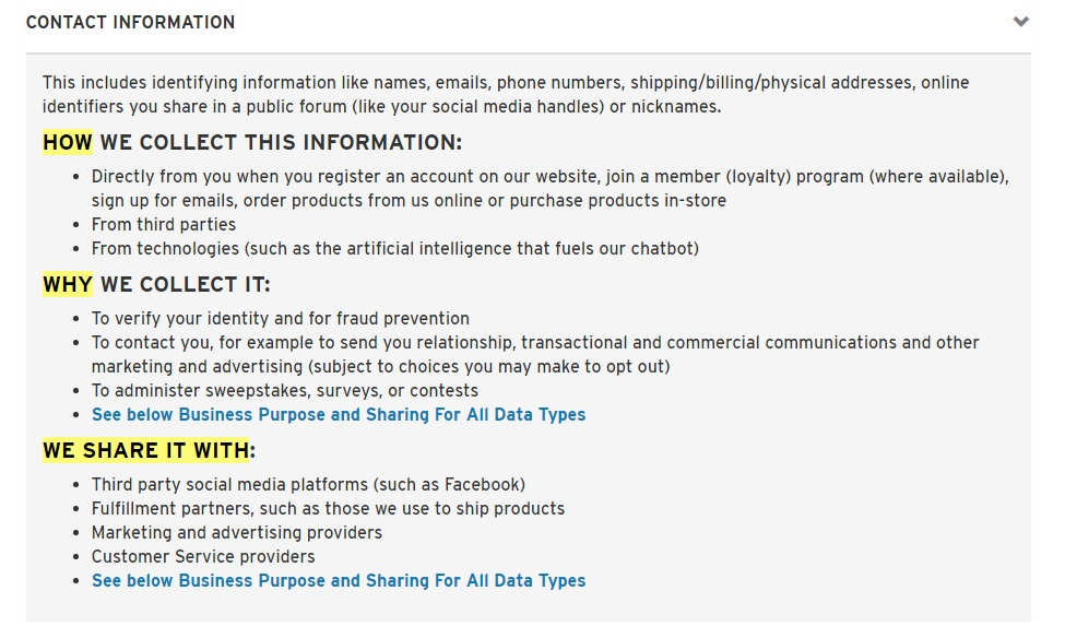 Levis Privacy Policy: How and why we collect, and who we share contact information with clause