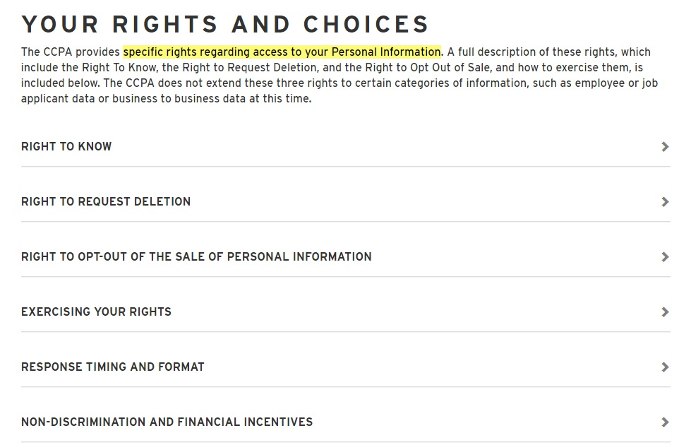 Levis Privacy Policy: Your Rights and Choices clause