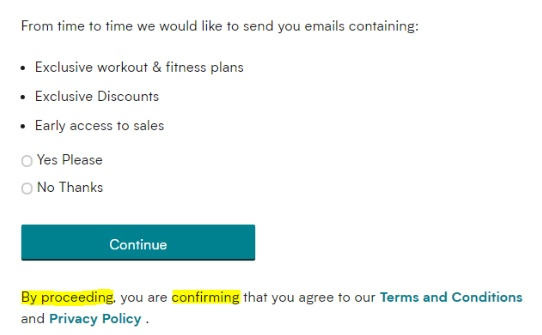 MyProtein: Consent to email marketing form