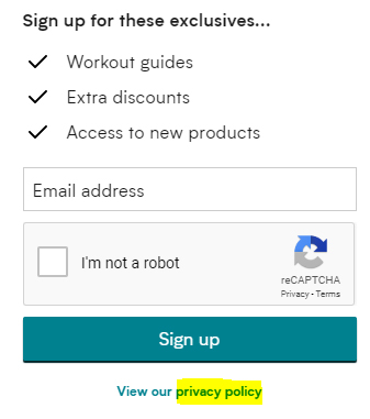 MyProtein sign-up form with Privacy Policy link