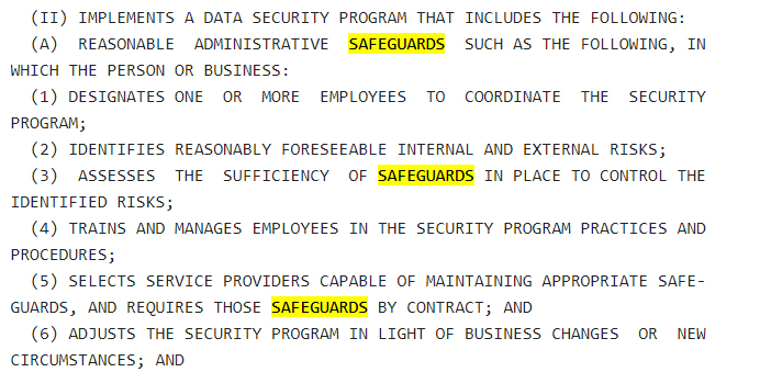 NY Senate: NY SHIELD Act - Administrative Safeguards section