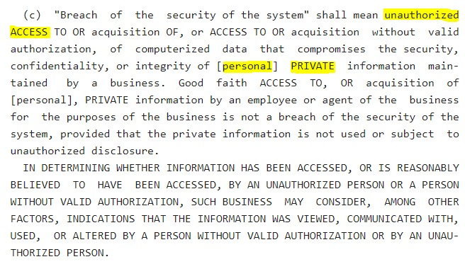 NY Senate: NY SHIELD Act - Breach of a Security System section