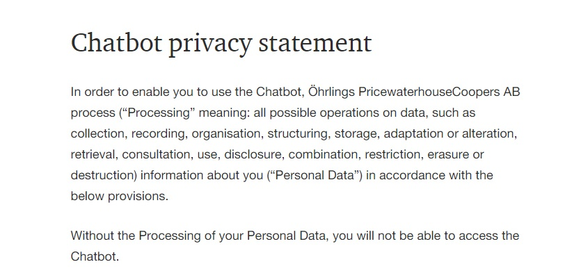PricewaterhouseCoopers Chatbot Privacy Statement excerpt
