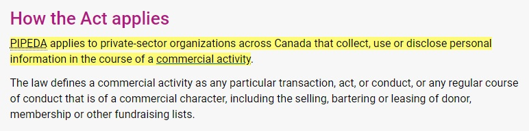 Privacy Commissioner of Canada: How PIPEDA act applies