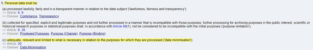 Privacy Regulation: GDPR Article 5 - Data minimisation section highlighted