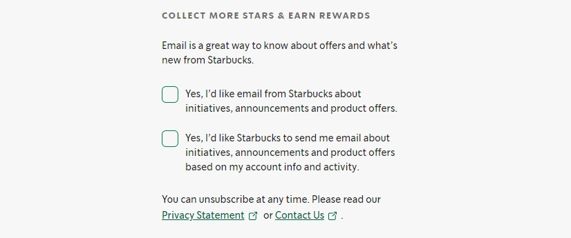 Starbucks email sign-up form