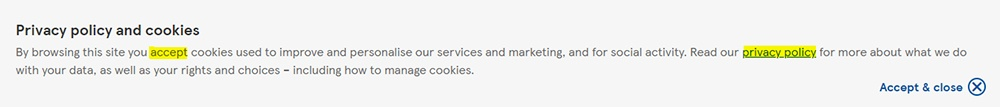 Tesco Privacy Policy and cookie consent notice