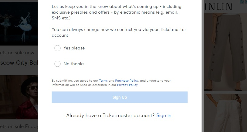 Ticketmaster Ireland email sign-up form