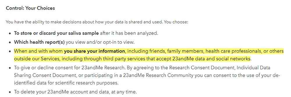 23andMe Privacy Policy: Control: Your Choices clause