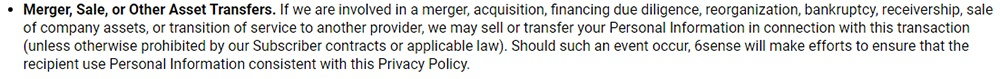 6sense Privacy Policy: Merger Sale or Other Asset Transfer clause