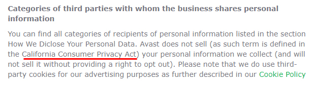AVG Privacy Policy: Categories of third parties with whom the business shares personal information clause