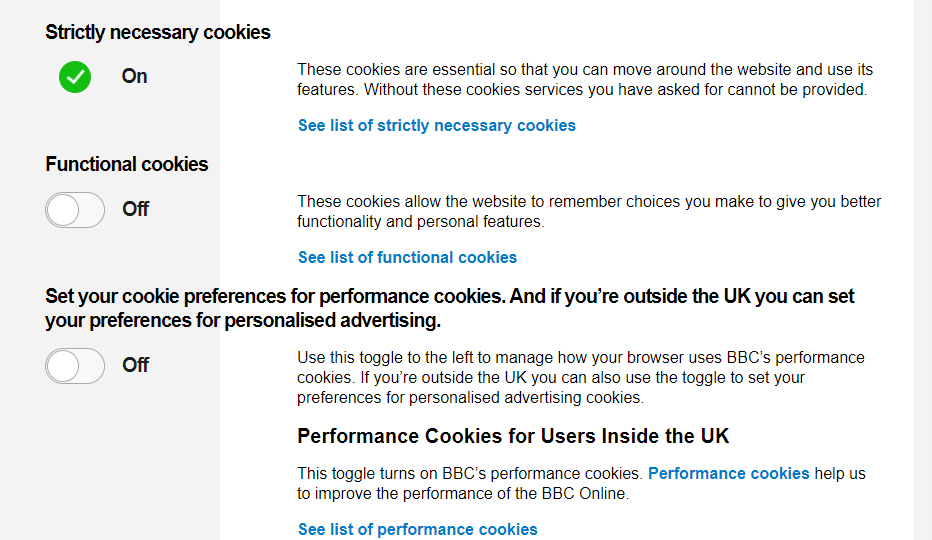 BBC updated cookies toggle mechanism