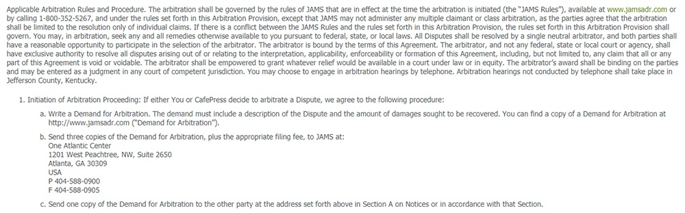 CafePress Terms and Conditions: Arbitration clause excerpt