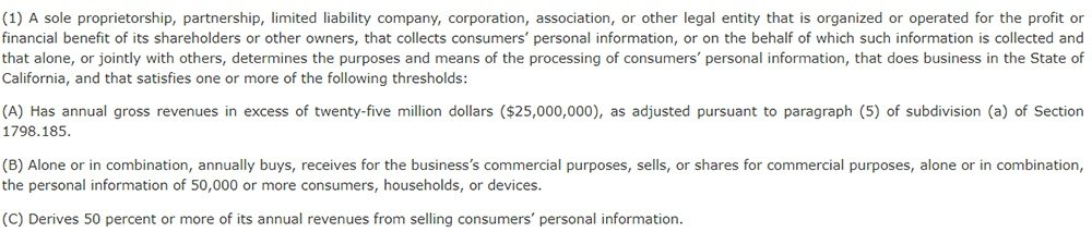 California Legislative Info: CCPA Section 1798 140 - Definition of who the act applies to