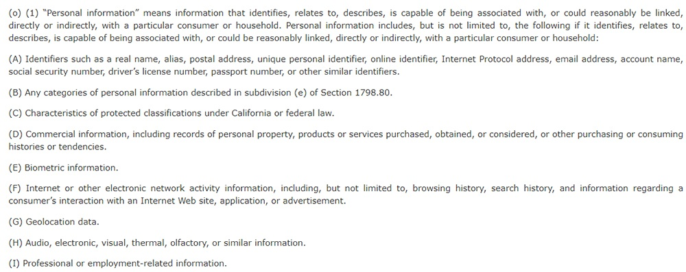 California Legislative Info: CCPA Section 1798 140 - Definition of personal information