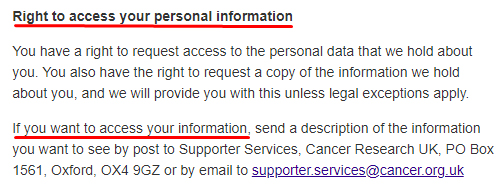 Cancer Research UK Privacy Statement: Right to access your personal information clause