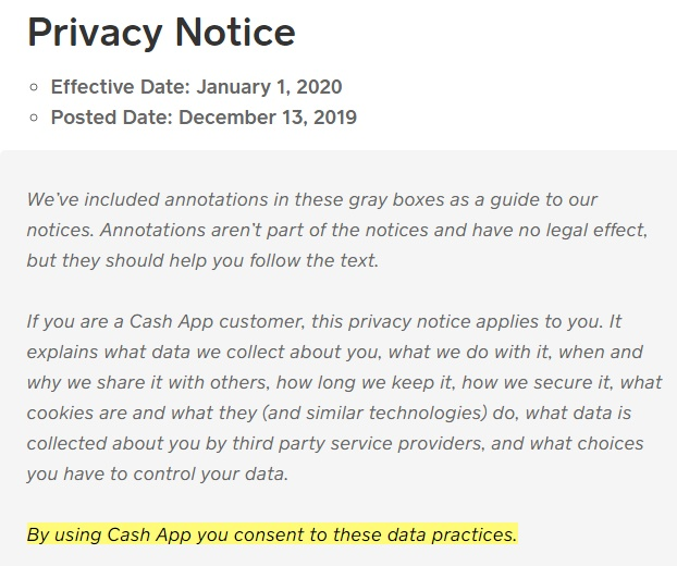 Cash App Privacy Notice: Browsewrap clause