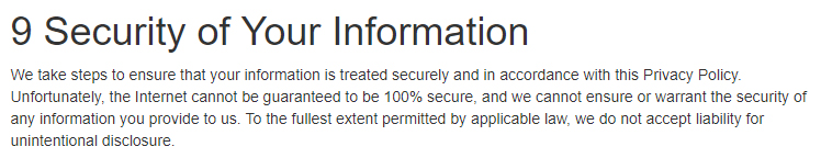 CoCalc Privacy Policy: Security of Your Information clause excerpt