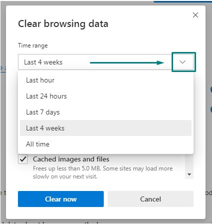 Edge browser Clear browsing data: Choose what time range to clear option
