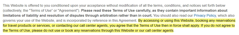 Expedia Terms of Use: Browsewrap clause