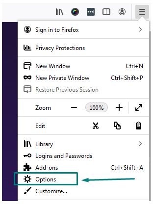 Firefox menu with Options highlighted