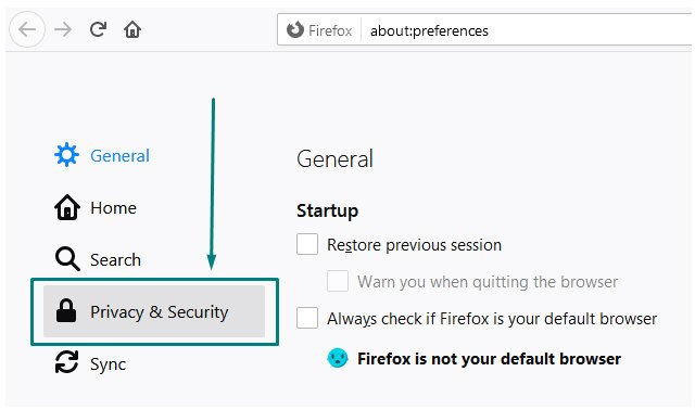 Firefox menu with Privacy and Security highlighted