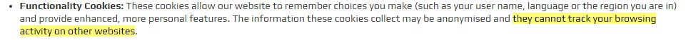Fitness Superstore Cookie Policy: Functionality cookies clause
