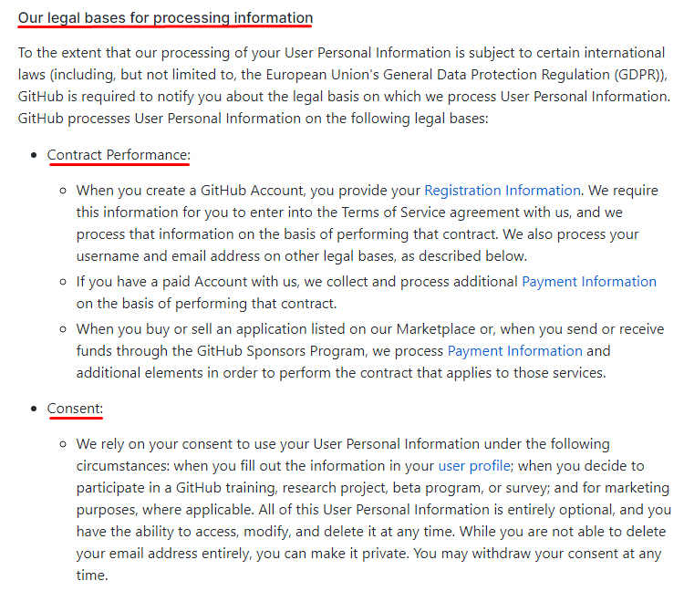 GitHub Privacy Statement: Legal Bases clause excerpt