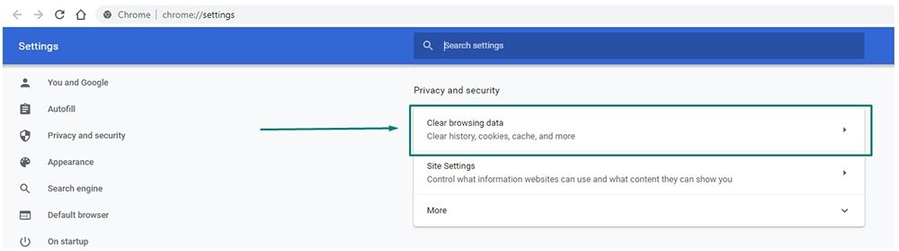 Google Chrome Settings: Privacy and security - Clear browsing data highlighted