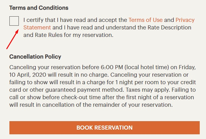 IHG Book Reservation form with Agree checkbox