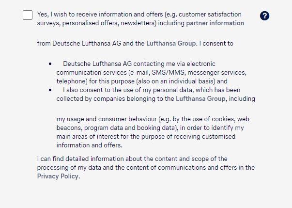 Lufthansa create account form with checkbox