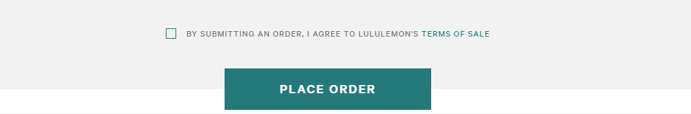 Lululemon checkout screen with checkbox