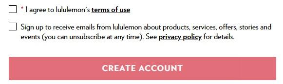 Lululemon create account form checkboxes