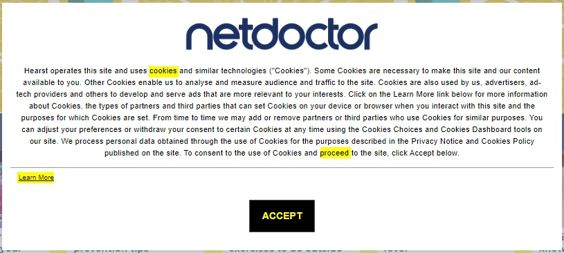 NetDoctor cookie consent notice