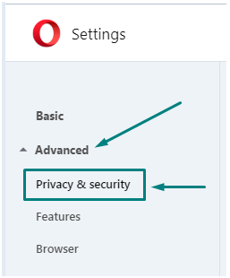 Opera Settings: Advanced - Privacy and Security highlighted