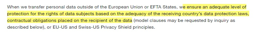 Twitter Privacy Policy: Transfer personal data outside the EU clause