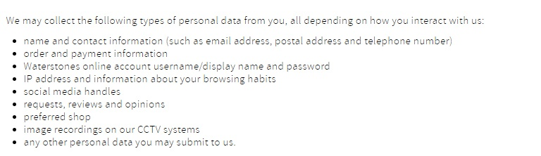 Waterstones Privacy Policy: Personal information collected clause