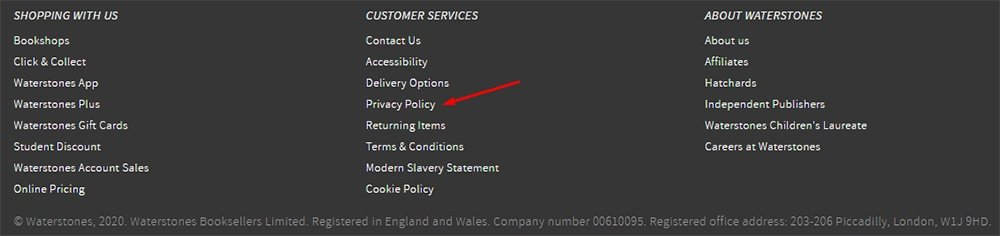 Waterstones website footer with Privacy Policy link highlighted