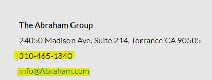 Abraham Group contact information screenshot