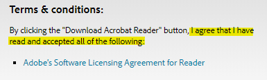 Adobe Reader download: Agree and accept software licensing agreement