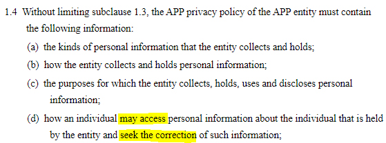 AU Gov Federal Register of Legislation: AU Privacy Act - APP Privacy Policy required contents clause