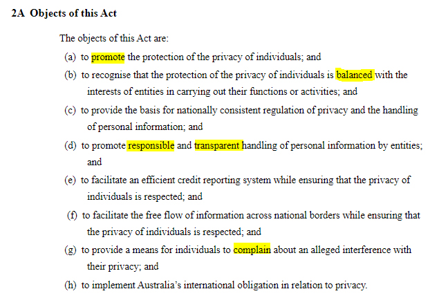 AU Gov Federal Register of Legislation: AU Privacy Act - Objects of this Act clause