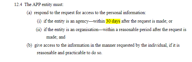 AU Gov Federal Register of Legislation: AU Privacy Act - Responding to access requests clause